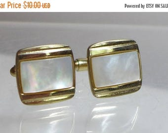 Sale 15% Cuff links Cufflinks Mother of Pearl Gold Unsigned Fathers Day