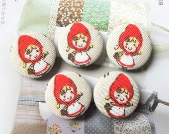 Storybook Fairy Tale Girl Little Red Riding Hood In The Forest Woods-Handmade Fabric Covered Buttons(1.1 Inches, 5PCS)