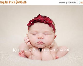 SUMMER SALE Christmas Headband - Newborn Headband Headband - Toddler Headband - Red Triple Dainty Flowers on Stretch Headband - Photography