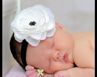 SUMMER SALE Newborn Headband - Baby Headband - Infant Headband - Toddler Headband - White Flower Clip with Black Headband - Photo Prop