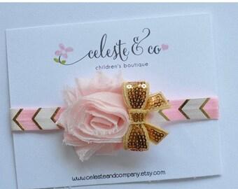 sale Pink Gold Baby Headband Flower with Sequin Bow Newborn Headband Infant Headband Toddler Headband Stretch Elastic Headband Photo Props B