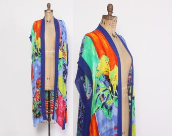 Vintage 90s Colorful DUSTER / 1990s Novelty Print Semi Sheer Long Maxi Draped Vest