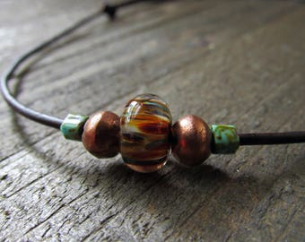 Men's Adjustable Leather Beaded Choker Necklace - Rustic Men's Jewelry - Father's Day Gifts