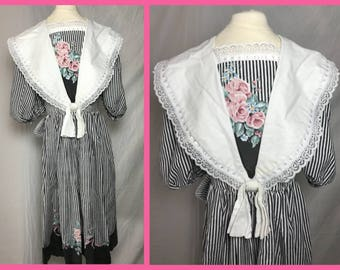 1980s Little Girls Hand Made Party Dress with Victorian Edwardian Flair - Size 7 8