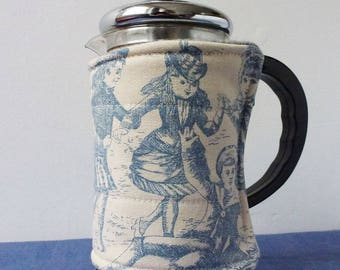 Toile de Jouy pattern fabric SMALL french press coffee pot cosy, potholder, children playing, historical costume