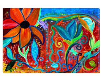 Abstract garden floral canvas wrap from my original acrylic painting