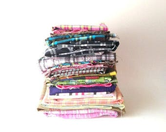 FABRICS Assorted Plaids Fabrics 2.45 Pounds Remnants Scraps Sewing Craft Fabric Cut Quilt Fabric Cotton Canvas Supply Madras Multi Colored