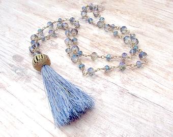 Womens Mala Necklace - Boho Mala Necklace - Bohemian Fringe Necklace - Mala Necklace - Womens Tassel Necklace - Gypsy Tassel Necklace - Boho