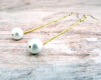 Long Pearl Dangle Earrings - Long Pearl Drop Earrings - Pearl Drop Earrings - Long Pearl Earrings - Long Dangly Pearl Earrings - Long Dangle