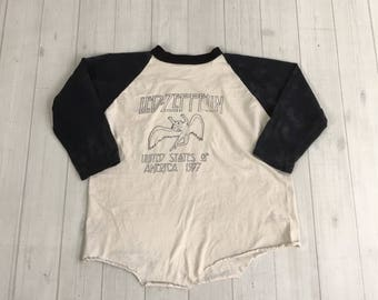 Vintage 70s LED ZEPPELIN T Shirt Swan Song 1977 jersey concert american tour rock band Rare original size L