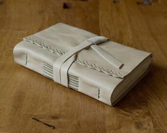 Rustic Cream Leather Sketchbook - Handbound Book - Cotton Rag Paper - Lace Edge Detail Art Journal