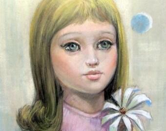 Vintage BIG EYED GIRL Pastel Painting Signed Sandoval Blond Blue Sad Eyes