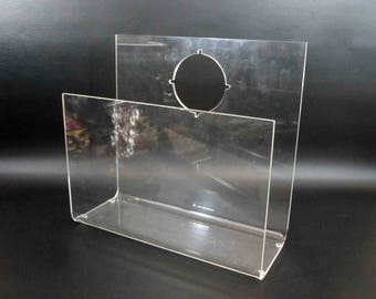 Vintage Lucite Vinyl Record Holder or Magazine Rack. Circa 1960's.