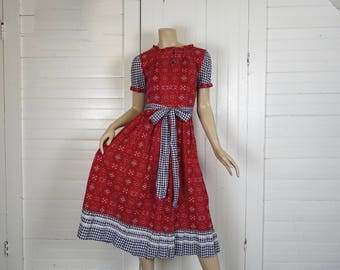 40s Prairie Dress- 1940s Calico & Gingham Country Dress- Bandana Print- Red + Navy Blue Cotton- Extra Small