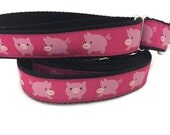 Dog Collar and Leash, Pigs, 1 inch wide, 4ft leash, quick release, metal buckle, chain, martingale, hybrid, nylon