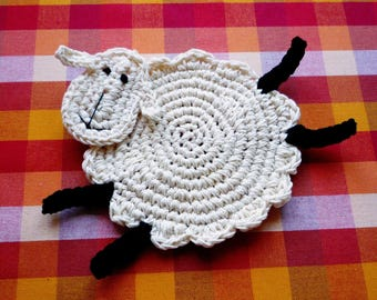 Crochet Sheep Coasters - Lamb Coasters - Animal Coasters - Farmhouse Table Decor - Sheep Lover - Rustic Wedding Gift - Set of 4