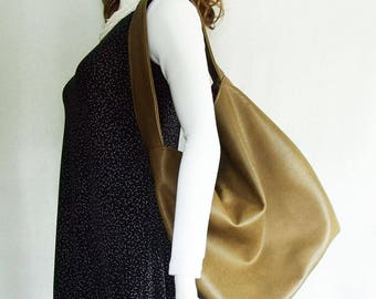 Olive Green Faux Leather Handbag, army green textured faux leather slouch hobo handbag, extra large slouchy shoulder bag