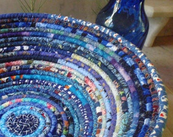 Blue Bohemian Coiled Fabric Basket - LARGE - Handmade by Me