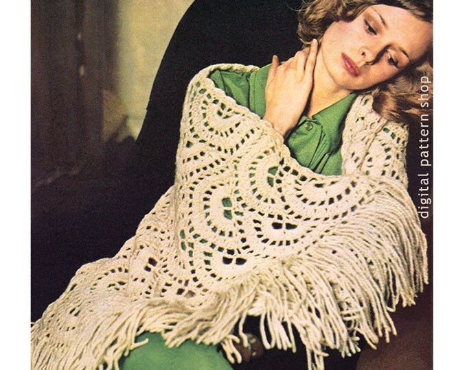 Scalloped Shawl Crochet Pattern Vintage Shoulder Wrap Pattern Instant Download PDF