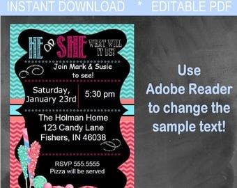 ON SALE Editable Digital Chevron & Candy Chalkboard Gender Reveal Party Invitation INSTANT Download