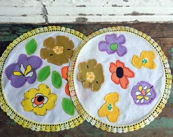 """Vintage Pair Doily Doilies Floral Applique Bright Colors Yellow Crochet Trim 10"""""""