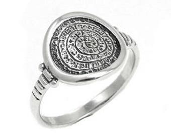 Sterling silver Minoan phaistos Disc ring - Greek jewelry