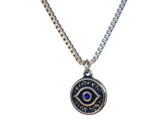Evil eye necklace - handmade jewelry - stainless steel  - Greek jewelry - gift for him - protection - Good luck - lucky eye