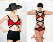 Bathing Suit Top 1990s Bra Top 90s Color Block Swim Suit / 60s Mod Rudi Gernreich Inspired / New Wave Bikini / Extra Small / Small