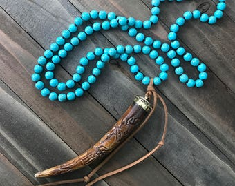 Hand Knotted Turquoise Necklace with Carved Horn Pendant Long Bohemian Layering Style - Renegade Handmade by SplendorVendor