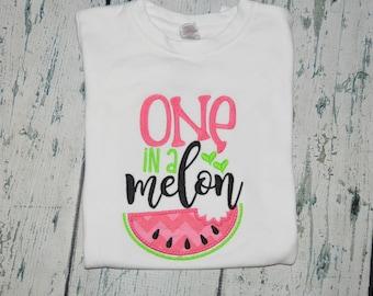 Watermelon First Birthday, One In A Melon Birthday Shirt