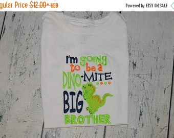 ON SALE SAMPLE Sale  Dinosaur Big Brother Shirt size 4 Ready to Ship, Baby Announcement Shirt, Quick Ship