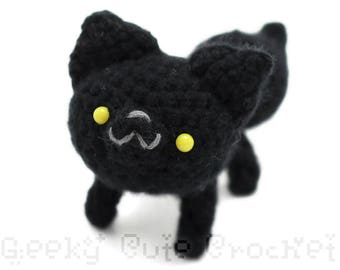Black Wolf Plush Toy Animal Amigurumi Crochet Stuffie