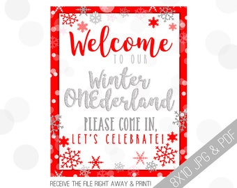ONEderland Printable Sign | Onederland Welcome Sign | Winter Onederland | Red and Silver | Winter Welcome Sign | Winter Onederland Party