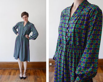 1980s Blue and Green Silky Shirt Dress - M