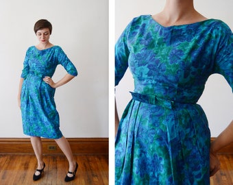 1960s Blue and Green Floral Fitted Dress - S/M