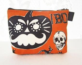Crafty Calaveras Halloween Fabric Cosmetic Bag Gadget Bag Makeup Bag Zip Pouch Alexander Henry  Skull Pumpkin Mustache BOO Orange Black