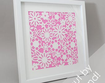 flowers - PAPER CUTTING - handmade art, Valentines Day, Paper cut art, flowers, unique wall art, framed paper cut, white paper, circle