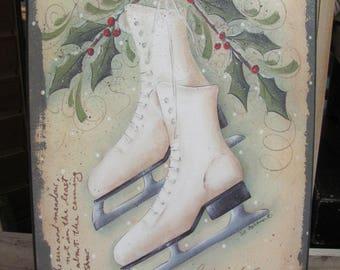Vintage Ice Skates,Winter Wall Decor,Holiday Wall Decor,Christmas Decor,Wooden Art Plaque,12x18,Jill Ankron