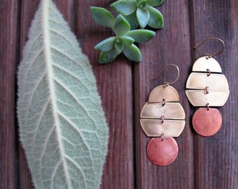 Planetary Earrings - Mixed Metal Copper and Brass Earrings - Statement Earrings - Artisan Tangleweeds Jewelry