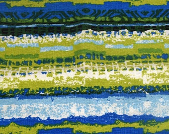 """Vintage House N Home Barkcloth Type Fabric, 1.5yds+, Green and Blue Hawaiian Material 48"""" x 65"""""""