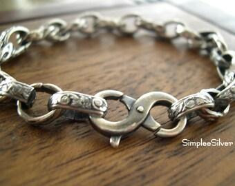Sterling Silver Chain Bracelet  -  Chunky Bracelet  - Layering Bracelet  -  Patterned Chain Bracelet  -  SimpleeSilver