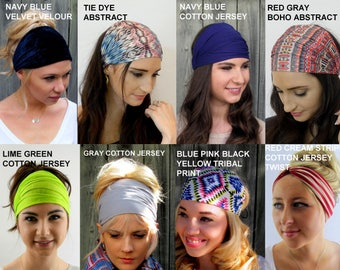 Wide Yoga Headband,  No Slip Headband, Turban Hair Wrap - Choose ANY 2 - Fitness Headbands, Coachella Headbands, Headband Wraps for Women