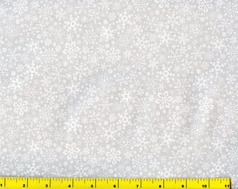White on White Snowflakes Silver Glitter Christmas Quilting Fabric by Yard #3131