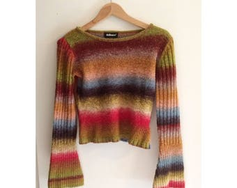 Vintage 90s Bell Sleeve Striped Crop Sweater S