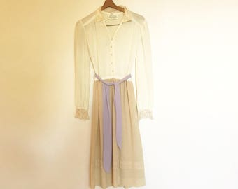 Vintage 70s Ivory Sheer Secretary Midi Longeeve Dress with Lace Collar S/M