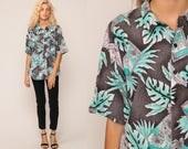 Jungle Shirt TROPICAL Blouse Leaf Print Button Up 80s Top Hawaiian Vintage Surfer Beach 1980s Short Sleeve Pocket Cotton Grey Medium
