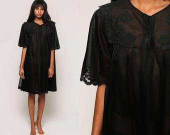 Sheer Robe Jacket Black Lace 80s Boho Bed Jacket TRAPEZE Gothic Lingerie Kimono Robe 70s Short Sleeve Bohemian Vintage Small Medium Large