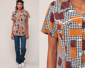 70s Shirt Geometric Print Blouse Brown Boho Top Hippie Space Age 1970s Vintage Bohemian Button Up Short Sleeve Small