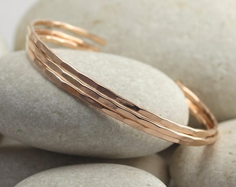 3 Thin Rose Gold Cuffs - hammered and custom sized in rose gold fill - Rose gold bangles