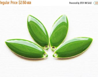 20% OFF Metal & Epoxy Solid Marquise Drops - Silver Plated Jungle Green (4 drops) - spa376